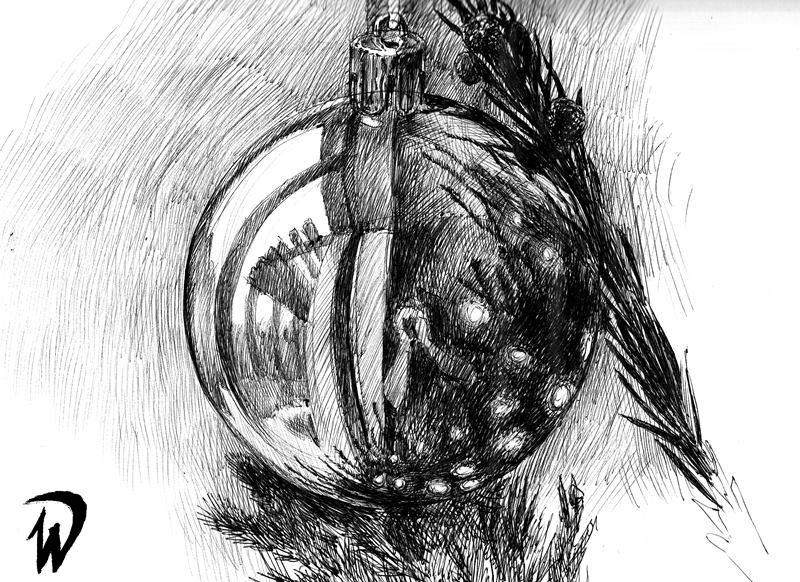 rysunek bombki na choince