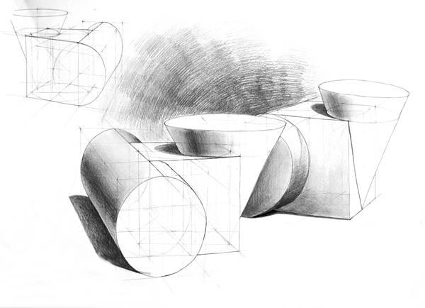 kompozycja z brył geometrycznych